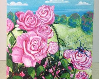 Garden of Love (painting, rose, black widow, spider, spiderweb, thorn, floral, flowers, landscape, decor)
