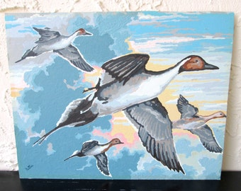 Vintage Paint by Number Ducks in Flight 19XXX2 Craft House PBN Unframed Painting