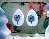 Buy 1 Get 1 Free - 20pcs  (WH16)  Tear Drop  Handmade Photo Wood Cut Cabochon (Back White)
