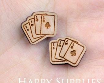 4pcs (SWC83) DIY Laser Cut Wooden Poker Charms