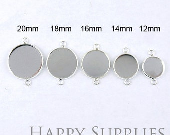 Nickel Free - 10Pcs High Quality Silver Plated Brass 12mm/ 14mm/ 16mm/ 18mm/ 20mm Cabochon Pendant Base With Two Loops (GD157R)