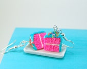 Cake Earrings - Blue and Pink Party Girl Cake Earrings Food Jewelry - MADE TO ORDER