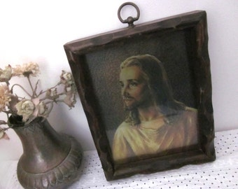 Metallic Foil Jesus Framed Art Print, chunky carved wood frame. Serene face. Vintage Catholic decor. Stand alone or Gallery Wall. Unique.