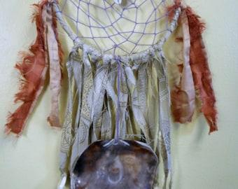 Ocean. Handmade Dream Catcher Boho Nautical Black Lip Shell Cowrie Shell Hemp Cord Sari Silk Fringe Tapestry Faux Pearl Beach Dreamcatcher