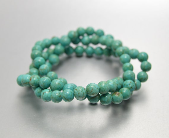 5mm Turquoise Beads, 5 mm Round Beads, Magnesite Turquoise, Full Strand for Leather Wrap Bracelets