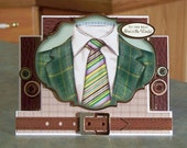 """To the Best Dad in the World Suit & Tie - 6.5"""" x 5"""" - Handmade Center Step Card - Birthday or Father's Day - Gold Foil Accenting"""