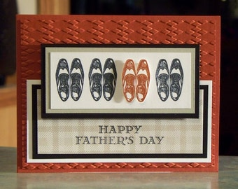 "Handmade Masculine Card - 5 1/2"" x 4 1/4"" Stampin Up Guy Greetings - Wingtip Shoes - Birthday - Father's Day - You're a Classic"