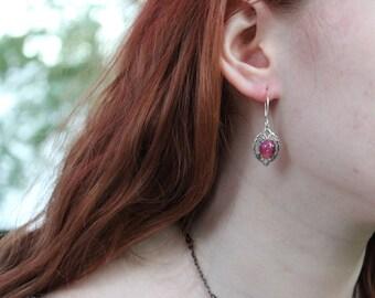 Dragon Breath Earrings, Mexican Fire Opal Earrings, Summer Gift, Fire Opal Earrings, Goth Earrings, Vintage Earrings, Victorian, Bridesmaids