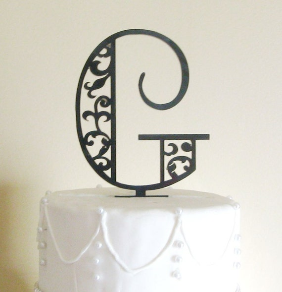 Art Deco Scroll Monogram Wedding Cake Topper by MilanCreations
