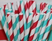 Paper Straws,  25 Dr. Seuss Party Paper Straws, Party Paper Straws, Red Striped Straw, Dr. Seuss Birthday, Dr. Seuss Baby Shower, Aqua & Red