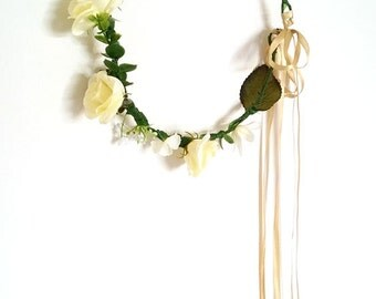 Flower crown, rustic head wreath, wedding headband, bridal hair, wedding crown, rose