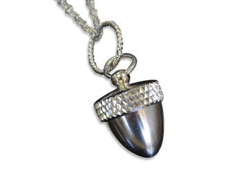 Silver Acorn Necklace - An Acorn with a Secret  Fall Fashion - Capsule Container  Pendant Necklace -  2010