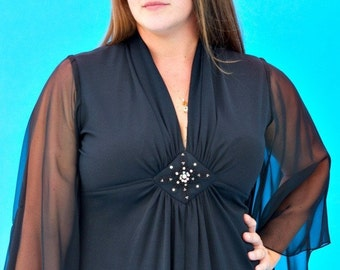 Vintage 1970s Hippie Goth You Put a Spell on Me Dress