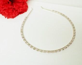 Blush Pink Rhinestone Bridal Headband with Swarovski Crystals for Bride, Bridesmaid, Prom, Flower Girl or Wedding Party