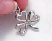 cute 2-D shamrock clover luck of irish w/ emerald gemstone theme bracelet charm or necklace pendant sterling silver
