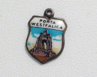 800 sterling silver enamel charm pendant Porta Westfalica gate to Westphalia travel vacation  tag / medallion 4 bracelet necklace european