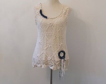 Shabby Chic Crocheted Tank Top, Country Girl, Cottage Chic, Boho, Ecru, Lagenlook, Tunic, Eco Friendly, Upcycled Clothing Fit Up to Large
