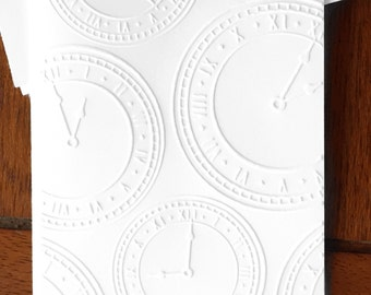 Embossed Cards Clocks / Set of 12 / Card Stock / A2 Envelopes / Craft Supplies