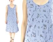 50% OFF SALE 90s Music Novelty Print Dress Blue Sleeveless Summer Sun Dress Knee Length Dress Periwinkle Blue Dress Piano Teacher (M/L)