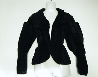 avant garde 1930s faux beaver fur MUTTON SLEEVE JACKET, size m