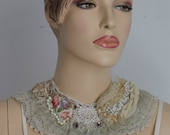 Crochet Embroidered Boho Shabby Chic Bib Necklace Collar  - Textile Collage -Wearable Art - OOAK