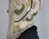 Pastel Ivory  White Beige Freeform  Crochet  Hood -  Hooded Scarf - Hat - Ear Flap - Winter Accessories - OOAK