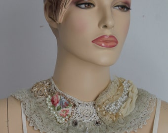 Crochet Embroidered Boho Shabby Chic Romantic Bib Necklace Collar  - Textile Collage -Wearable Art - OOAK