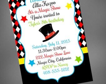 Magic Party Invitation, Magic Birthday Party Show, Magician, Abracadbra Invitation