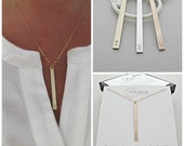 Bar Necklace, Gold Bar Necklace, Stamped Necklace, Monogram Necklace, Nameplate Necklace, Engraved Necklace, gold Jewelry