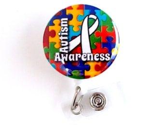 "Autism Awareness Puzzle Ribbon 1.5"" Badge Holder - ID Badge Reel - Autism Badge Reel - Nursing Badge - Teacher Badge Reel - Medical Badge"