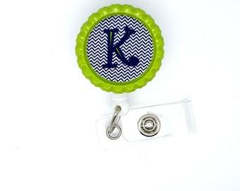 Personalized Initial Blue Chevron- Nursing Badge Reel - Nurses Badge Holder - Hospital Badge - School Badge Clip - Teacher Badge Reel