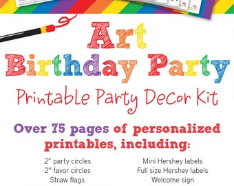 Art Birthday Party Printable Decor Kit - Over 75 pages of personalized printables!