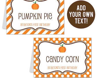 INSTANT DOWNLOAD Pumpkin Party Buffet Cards - EDITABLE Printable File