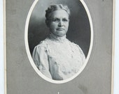 Antique Cabinet Card, Nancy Corss, Mrs. L. L. Morse, Corss Genealogy - Jennings, Louisana - C. J. Duncan Photographer -  Fleur de Lis