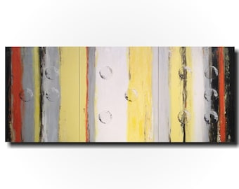 Original Large Abstract Braille painting - 24 X 54 Inches-by Artist JMJartstudio- Joy -Wall art-wall decor -gray amd yellow painting-Oil