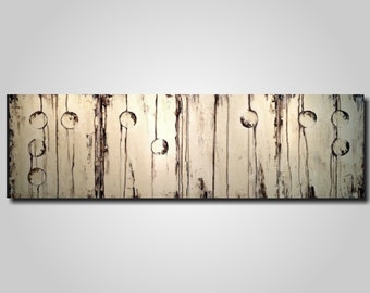 Original Large Abstract Braille painting - 20 X 64 Inches-by Artist JMJartstudio- LOVE -Wall art-wall decor - Brown and Cream custom