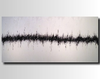 Large Abstract painting - 24 X 48- Art -by Artist -JMJartstudio- in a Heartbeat -Wall art-wall decor - Black and White painting-Oil painting