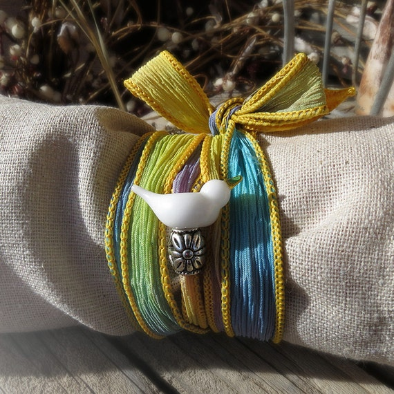 Dove silk wrap bracelet, white art glass dove, turquoise yellow hand dyed ribbon, peace love jewelry