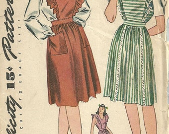 Simplicity 4921 / Vintage 40s Sewing Pattern / Jumper Dress Pinafore Blouse / Size 16 Bust 34
