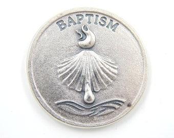 LARGE Baptism Medal - Religious Charms - Prayer Medallion - Pocket Medals - Baptism Gifts - Catholic Medals - Christian Medallion