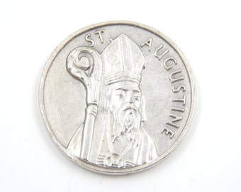 LARGE Saint Augustine of Hippo Catholic Medal - Religious Charms - Patron Saint of Brewers - Prayer Token - Pocket Medallion