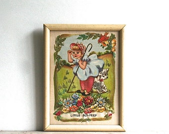 Vintage Little Bo-Peep Hiawatha Heirloom Needle Painting USA L 94 Scarce