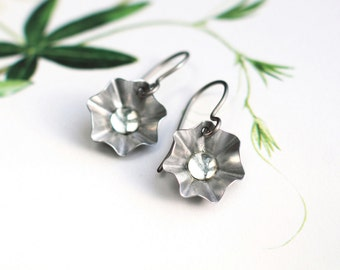 Silver Flower earrings , hand formed metal , silver star earrings , vintage clear crystal cabochon , eco friendly , upcycled metal