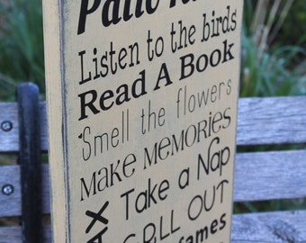 Patio rules sign Deck Rustic Primitive Rules Typography Word Art wood Sign vintage style great for mother's day gift or birthday