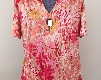 Vintage 1970s Abstract Floral Op Art Blouse Tropical Sunset M/L