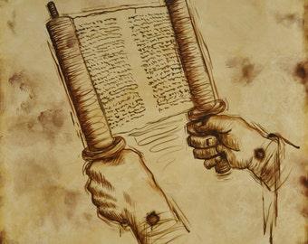 Jesus the Teacher, Jesus Holding Scroll, Jesus Poster Art, Jesus Painting, Jesus Scroll Illustration, Jesus Holding Scripture, God's Word