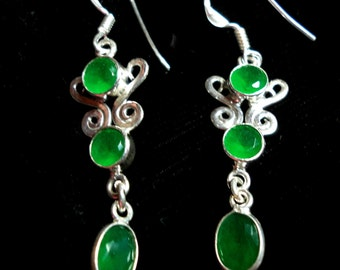 Emerald Earrings in Solid Sterling Silver Mountings and Sterling Hook Ear Wires