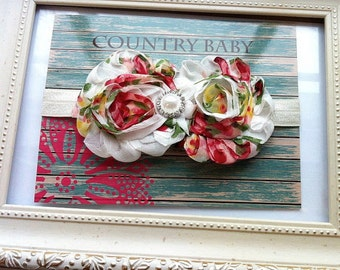 Shabby Floral Baby Headband...Floral Baby Headband...Baby Headband...Toddler Headband...Shabby Chic Headband