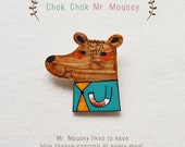 Chok Chok Mr. Mousey - Handmade Shrink Plastic Brooch or Magnet - Wearable Art - Made to Order