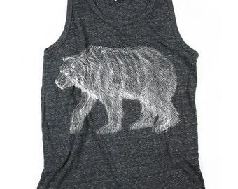 Polar Bear Tank Top - Mens Tank Top - Black and White - Heather Black - Polar bear -  Small, Medium, Large, XL, 2XL - Bear Print